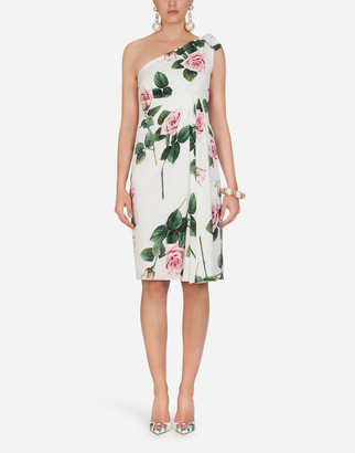 Dolce & Gabbana Tropical Rose Print One Shoulder Longuette Dress