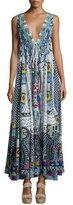 Camilla Embellished Crepe V-Neck Maxi Coverup Dress, Maasai Mosh
