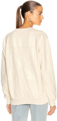Off-White Diag Oversize Crewneck Sweater in Ecru | FWRD