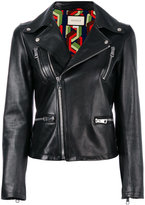 Gucci angry cat embroidered leather jacket - women - Silk/Lamb Skin - 38