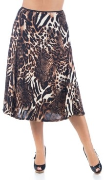 24seven Comfort Apparel Women's Plus Size Animal Print Midi Skirt