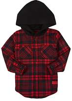 Haus of JR Kids' Plaid Cotton Flannel Hooded Shirt