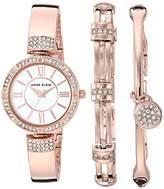 Anne Klein Women's AK/3294RGST Swarovski Crystal Accented -Tone Bangle Watch and Bracelet Set