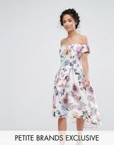 Chi Chi London Petite Chi Chi Petite All Over Printed Off Shoulder Midi Dress