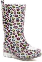 Capelli of New York Shiny Rainbow Leopard Rain Boot (Little Kid & Big Kid)