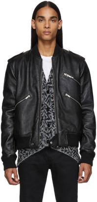 Saint Laurent Black Leather Bomber Jacket