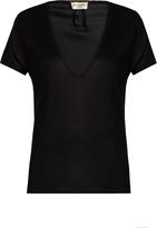 Saint Laurent Deep V-neck silk-jersey T-shirt
