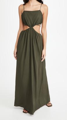 Jonathan Simkhai Amora Solid Strap Detail Maxi Dress