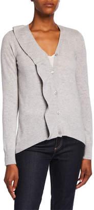 Neiman Marcus Cashmere Button-Front Ruffle Cardigan