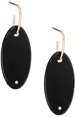 ginette_ny 18K Rose Gold & Black Onyx Ellipse Drop Earrings