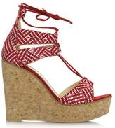Daniel New England Red Leather Strappy Wedge Sandal