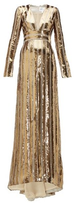 Galvan Stardust Plunge-neck Sequinned Gown - Womens - Gold