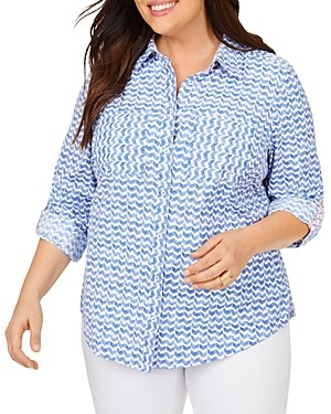 Foxcroft Plus Zoey Chic Chevron Print Moisture-Wicking Shirt With Upf