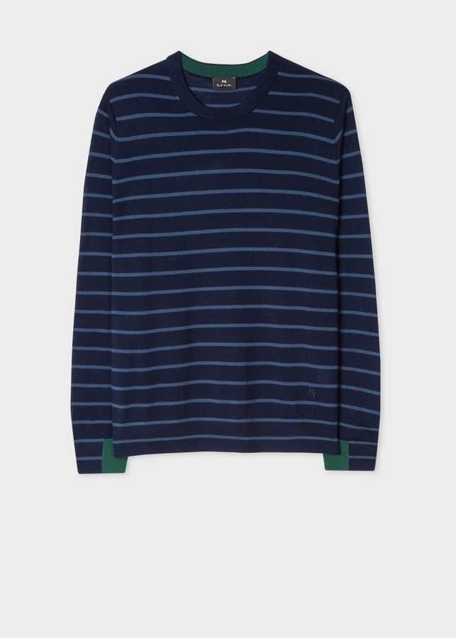 Paul Smith Men's Navy Thin Stripe Merino Wool Sweater