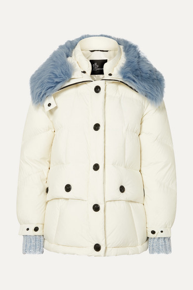 Moncler Carezza Shearling-trimmed Quilted Down Jacket - White