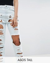 Asos TALL ORIGINAL MOM JEANS in Harrow Wash with Extreme Super Busts