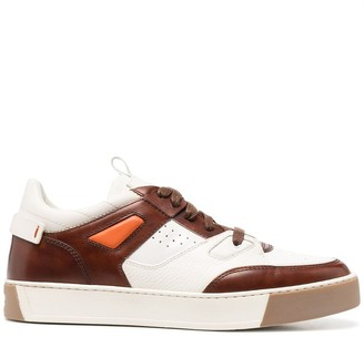 Santoni Panelled Lace-Up Sneakers