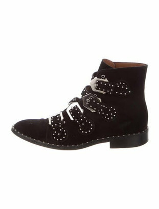 Givenchy Elegant Multi-Strap Suede Boots Black