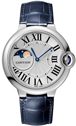 Cartier Ballon Bleu de Moon Phase Stainless Steel & Blue Alligator-Strap Watch