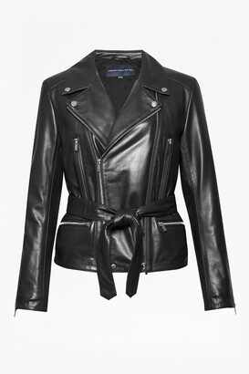 French Connection Clare Leather Biker Jacket