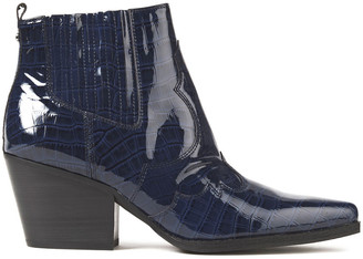 Sam Edelman Winona Glossed Croc-effect Leather Ankle Boots