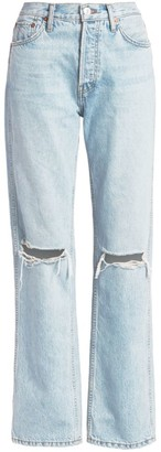 RE/DONE High-Rise Ripped-Knee Loose Jeans