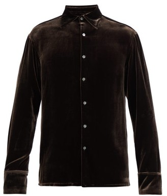 73 London - Point-collar Velvet Shirt - Brown