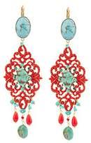 "Satellite Women's ""Stromboli"" Gold Plated Brass Oval Turquoise Red Chandelier Drop Earrings"