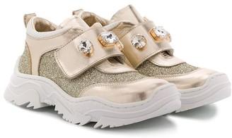 MonnaLisa Stone-Embellished Strap Sneakers