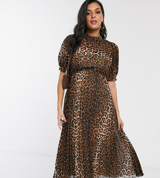 ASOS DESIGN Maternity high neck pleated midi dress with puff sleeve in leopard print