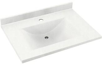 "Swan Contour Solid Surface 37"" Single Bathroom Vanity Top Top Finish: Tahiti White"