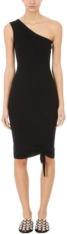 Alexander Wang Black Merino One Shoulder Dress