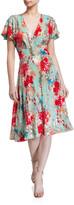 Badgley Mischka Sequin Floral Print Short-Sleeve Dress w/ Swing Skirt