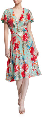 Badgley Mischka Sequin Floral Print Short-Sleeve Dress w/ Swing Skirt