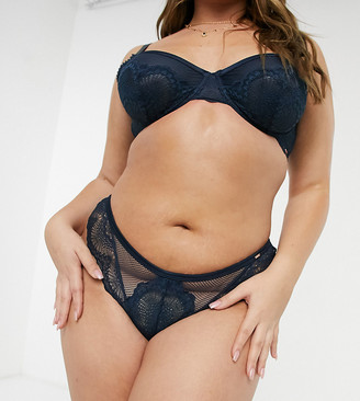 Dorina Plus Size Jenner fishnet and lace brazilian brief in ink