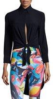 Norma Kamali Tie-Front Long-Sleeve Sport Shirt