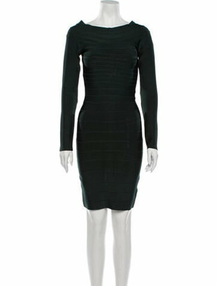 Herve Leger Bateau Neckline Mini Dress Green