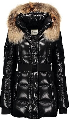 SAM. Millennium Fox Fur-Trim Belted Down Puffer