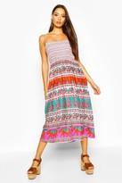 boohoo Woven Aztec Print Shirred Sundress