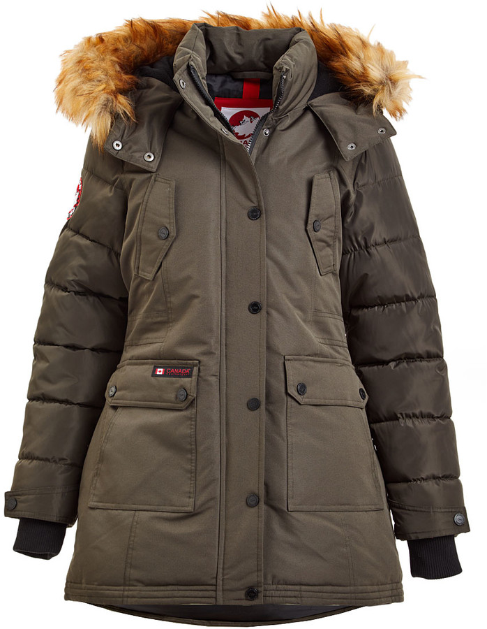 Canada Weather Gear Women's Anoraks & Parkas Olive - Olive Faux Fur Quilted-Sleeve Puffer Jacke