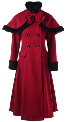 CELLABIE Women's Trench Coats Red - Red Laced-Back Peacoat & Red Shoulder Cape - Women
