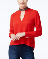 XOXO Juniors' Embellished High-Low Blouse