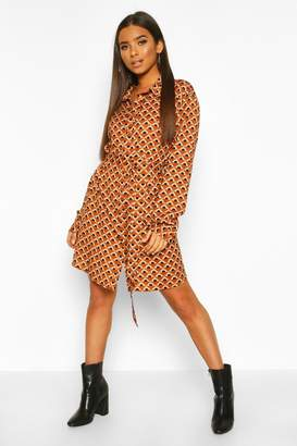 boohoo Satin Geo Print Belted Shirt Dress