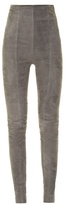 Balmain High-rise skinny-leg suede trousers