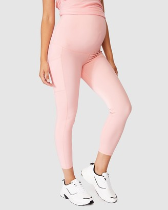 Cotton On Body Active - Women's Pink Tights - Maternity Rib Pocket 7-8 Tights - Size XS at The Iconic