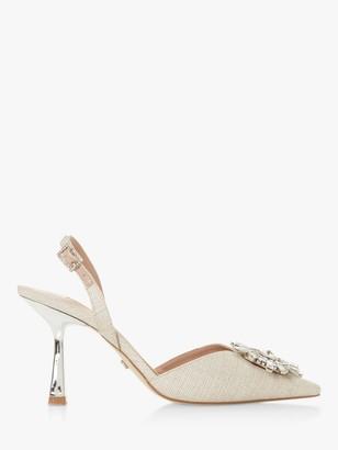 Dune Casis Brooch Fabric Slingback Heels, Natural
