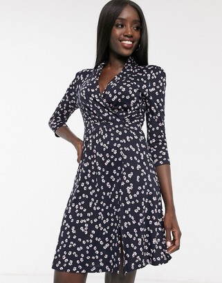 French Connection eloise meadow floral jersey dress in utility blue multi