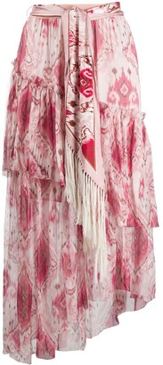 Zimmermann Ikat-print asymmetric skirt