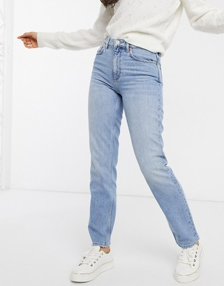 French Connection high waist straight leg jean in light blue