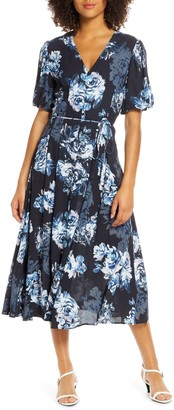 French Connection Caterina Floral Short Sleeve Midi Dress
